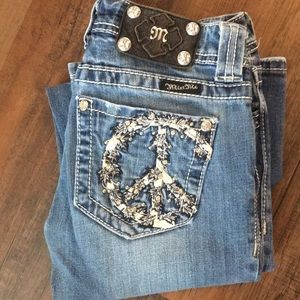 Miss Me Bootcut Peace Sign Rhinestone Jeans